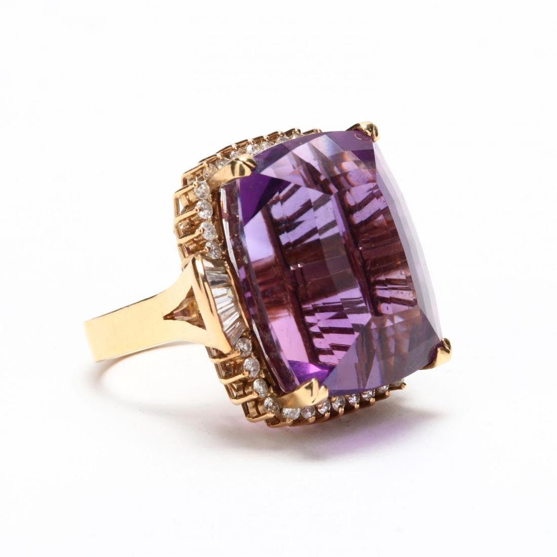 14KT Gold Amethyst and Diamond Ring - 2