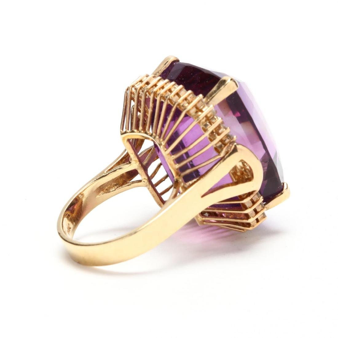 14KT Gold Amethyst and Diamond Ring - 3