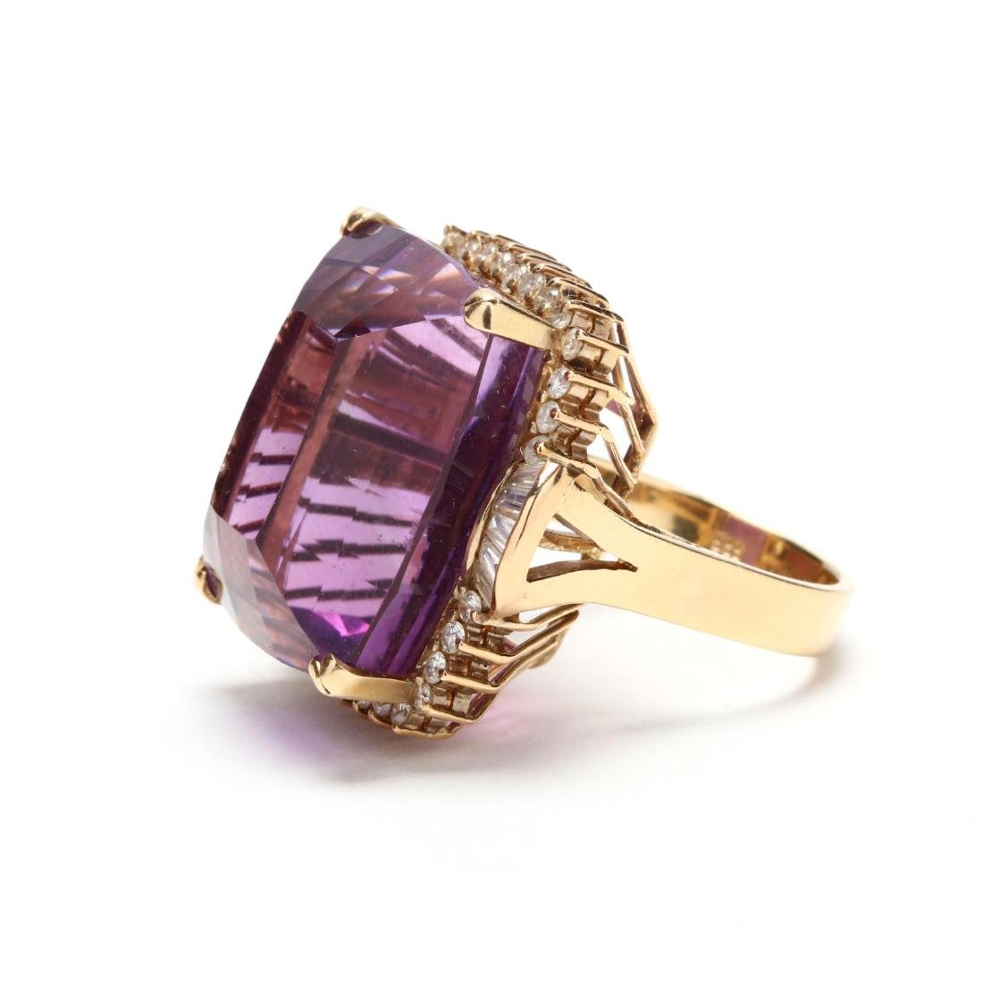 14KT Gold Amethyst and Diamond Ring - 5