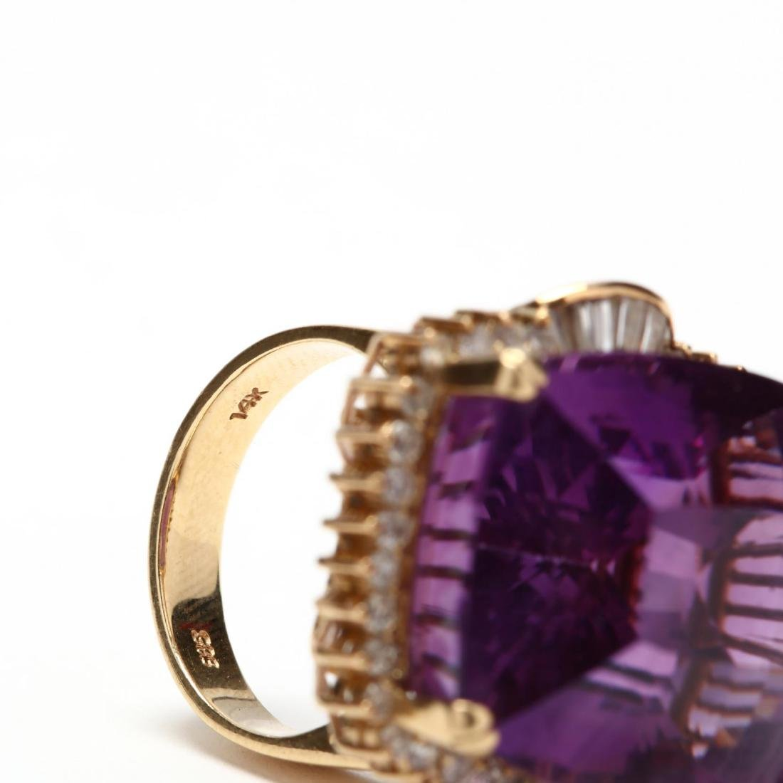 14KT Gold Amethyst and Diamond Ring - 6