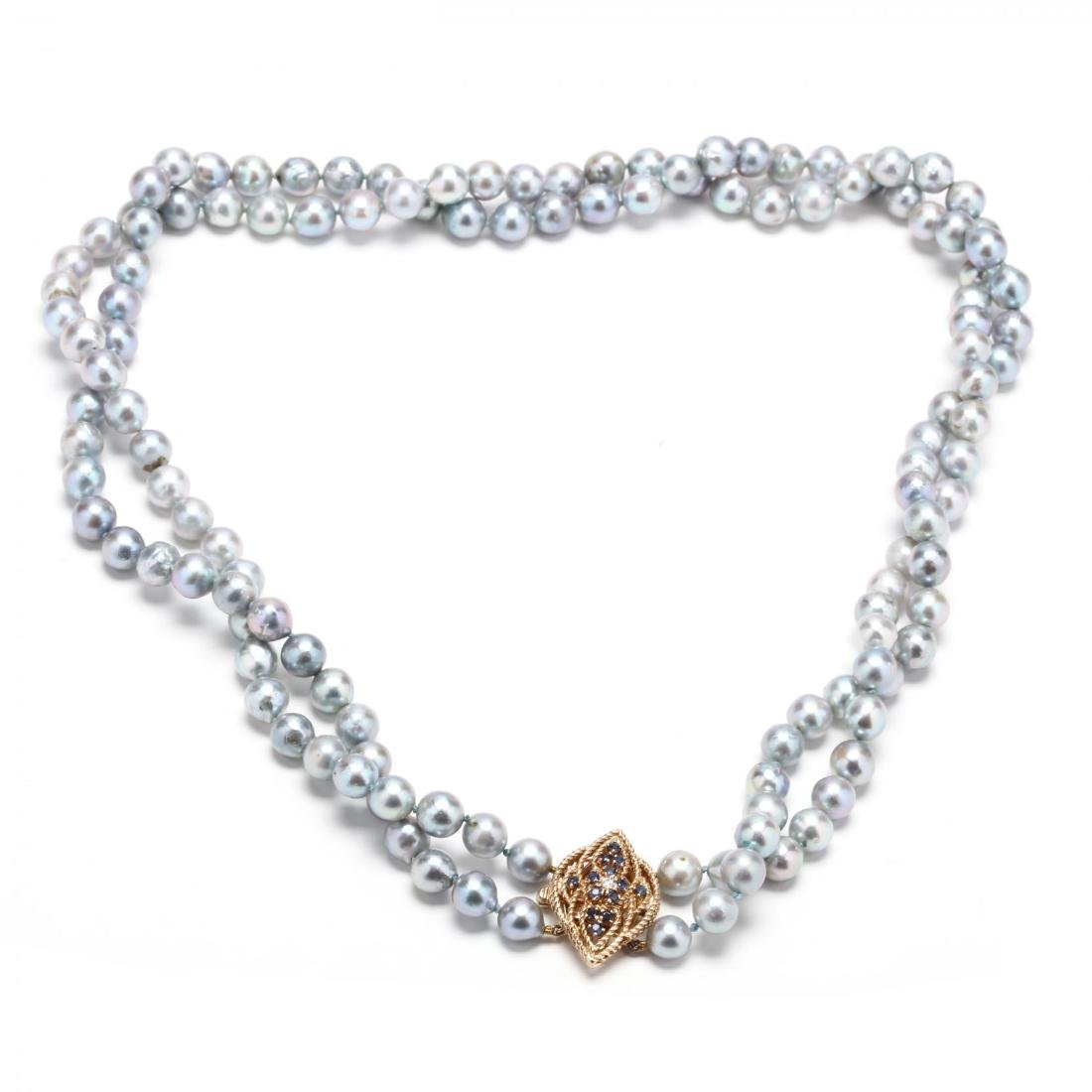 14KT Gold , Pearl, Sapphire, and Diamond Necklace