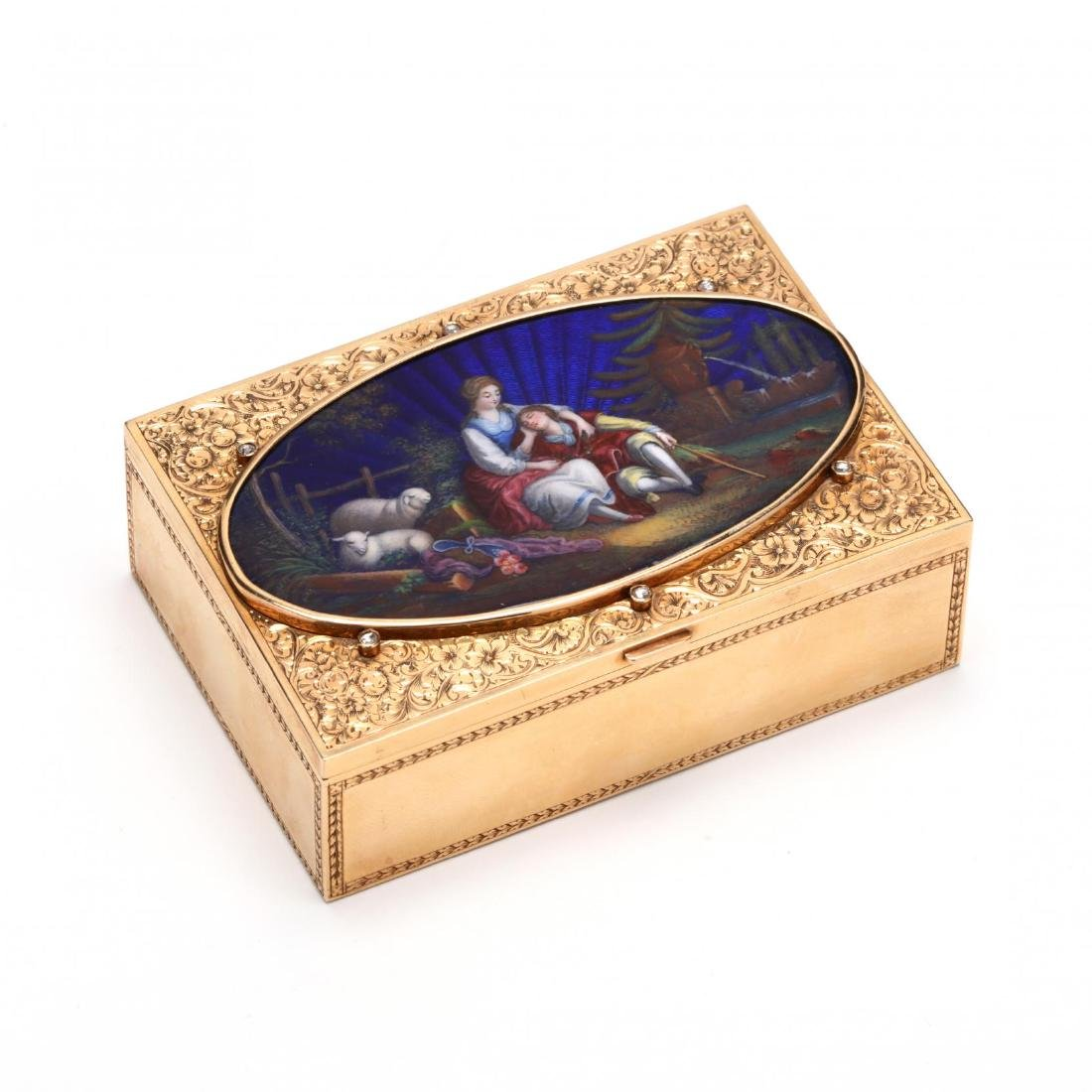 Antique French Jeweled and Enameled Gold Snuff Box