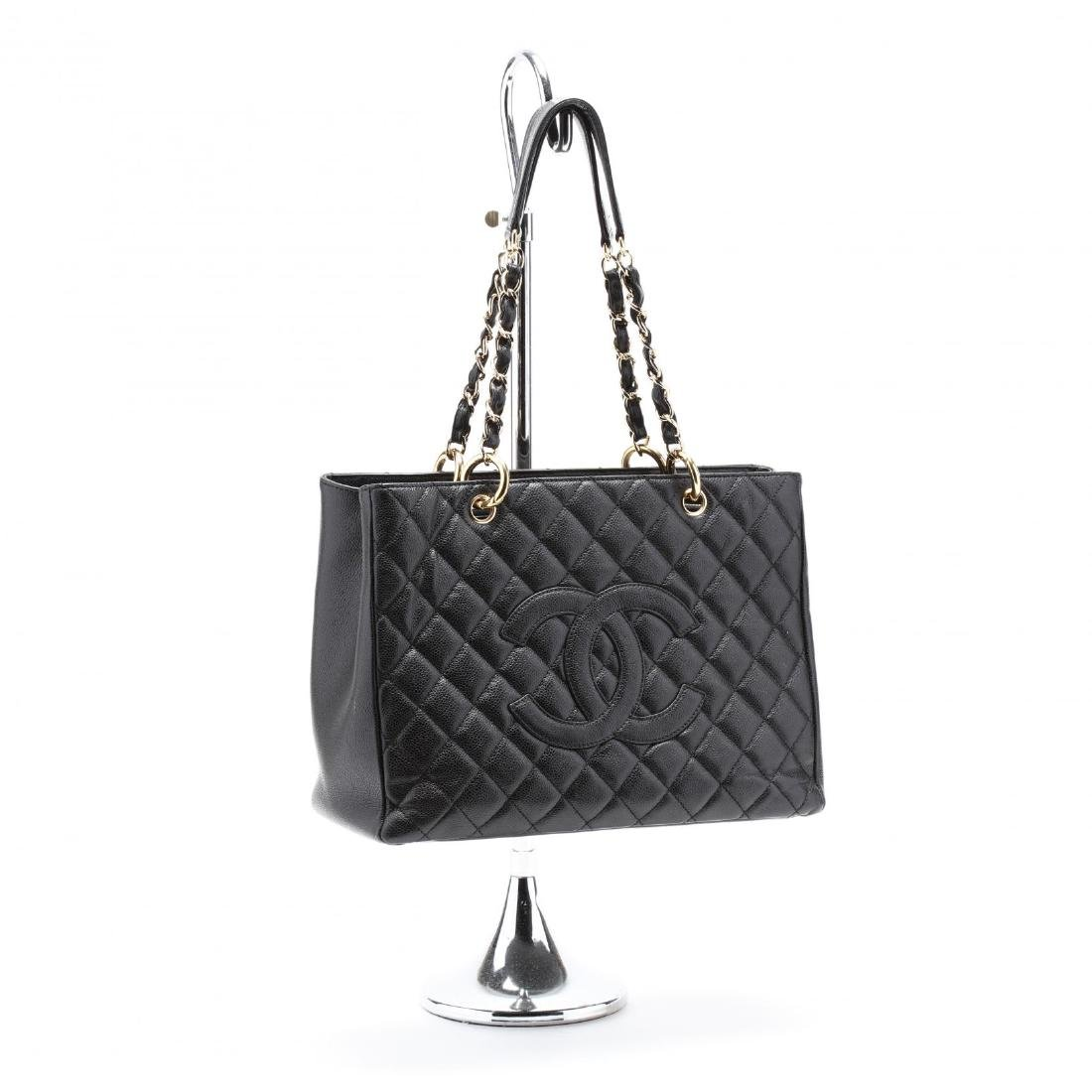 Quilted Black Caviar Leather Grand Shopping Tote