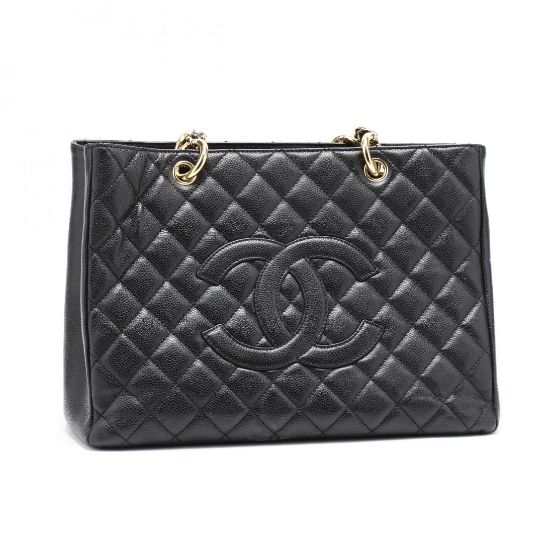 Quilted Black Caviar Leather Grand Shopping Tote - 3