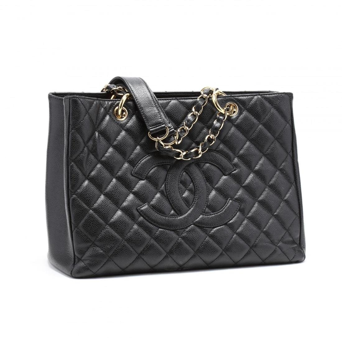 Quilted Black Caviar Leather Grand Shopping Tote - 4
