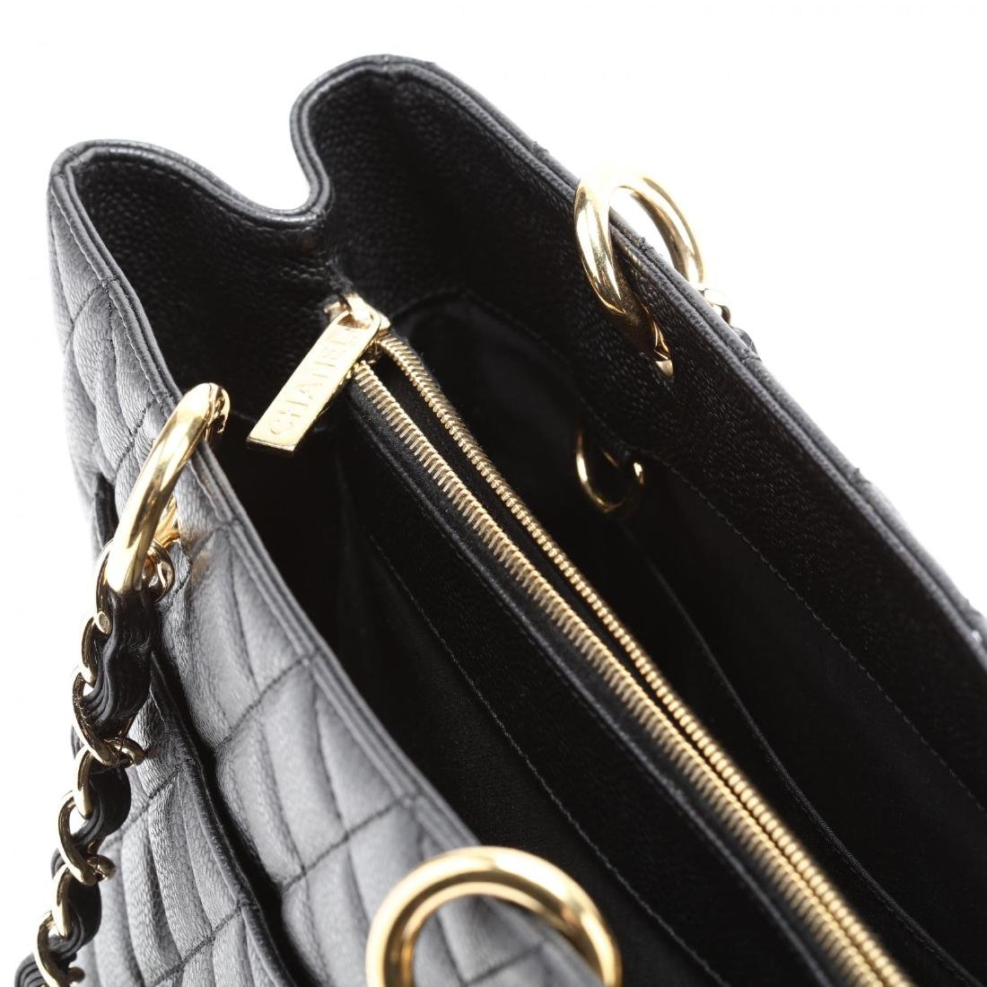 Quilted Black Caviar Leather Grand Shopping Tote - 7
