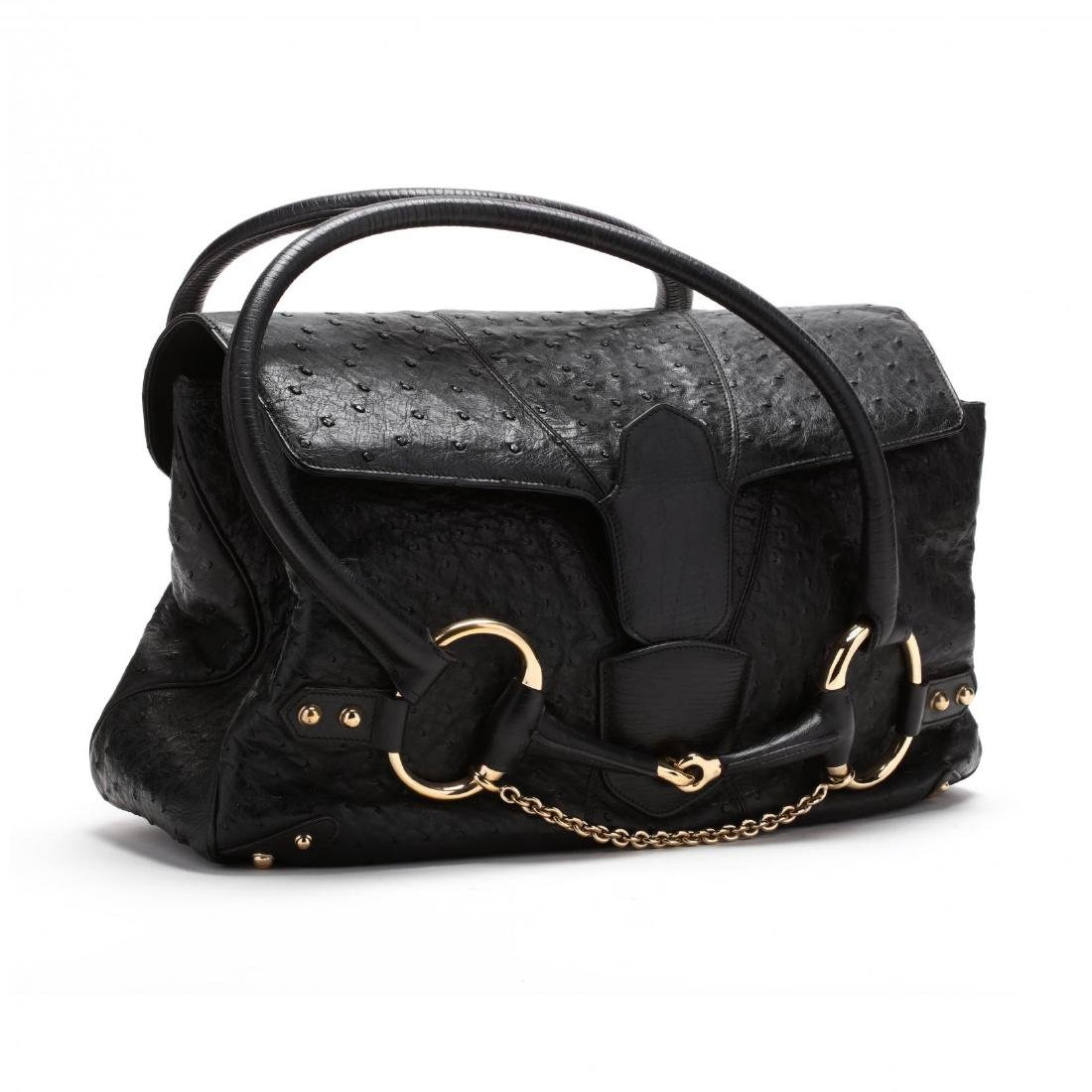 Black Ostrich Leather Satchel Bag, Gucci