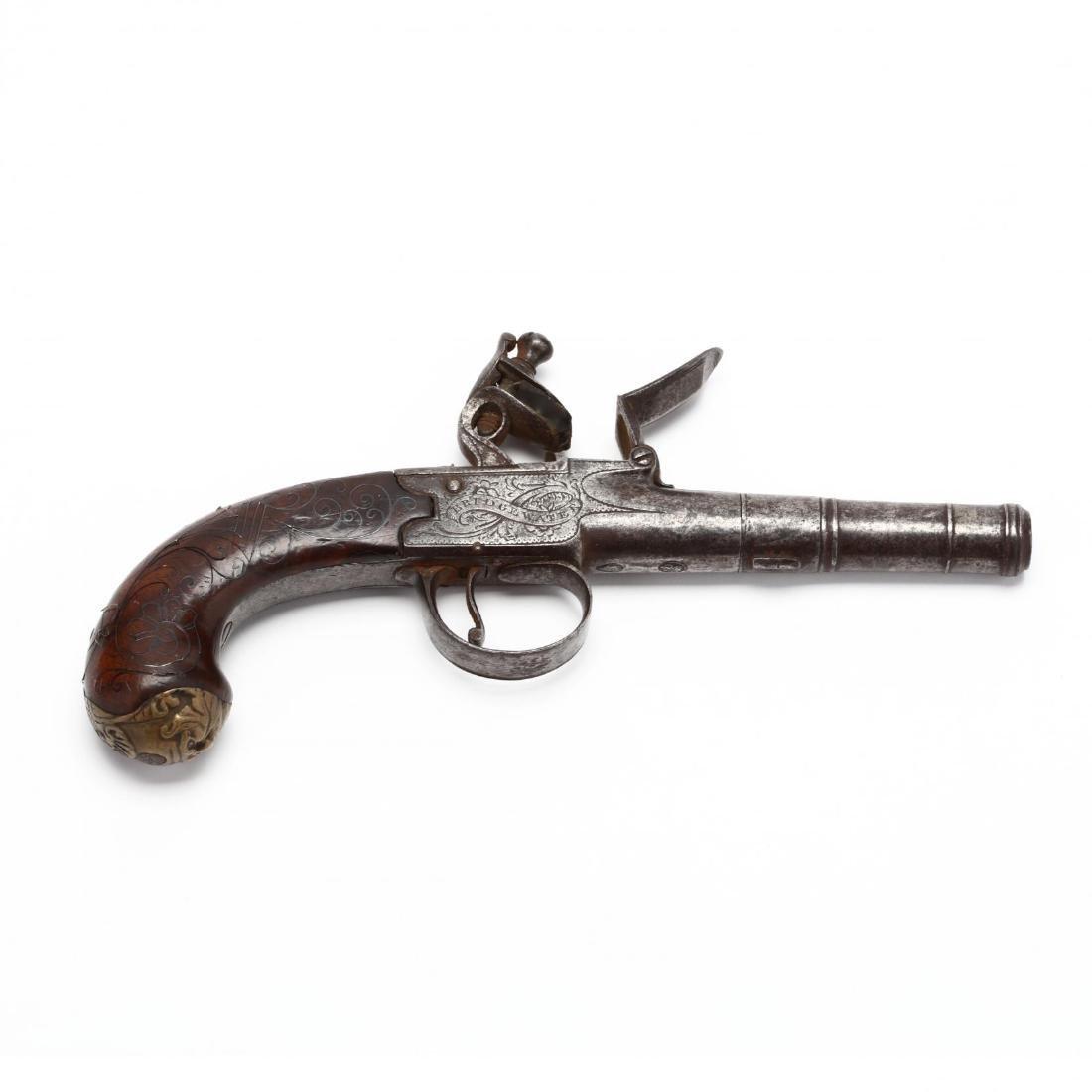 English Flintlock Pocket Pistol With Screw-On Barrel