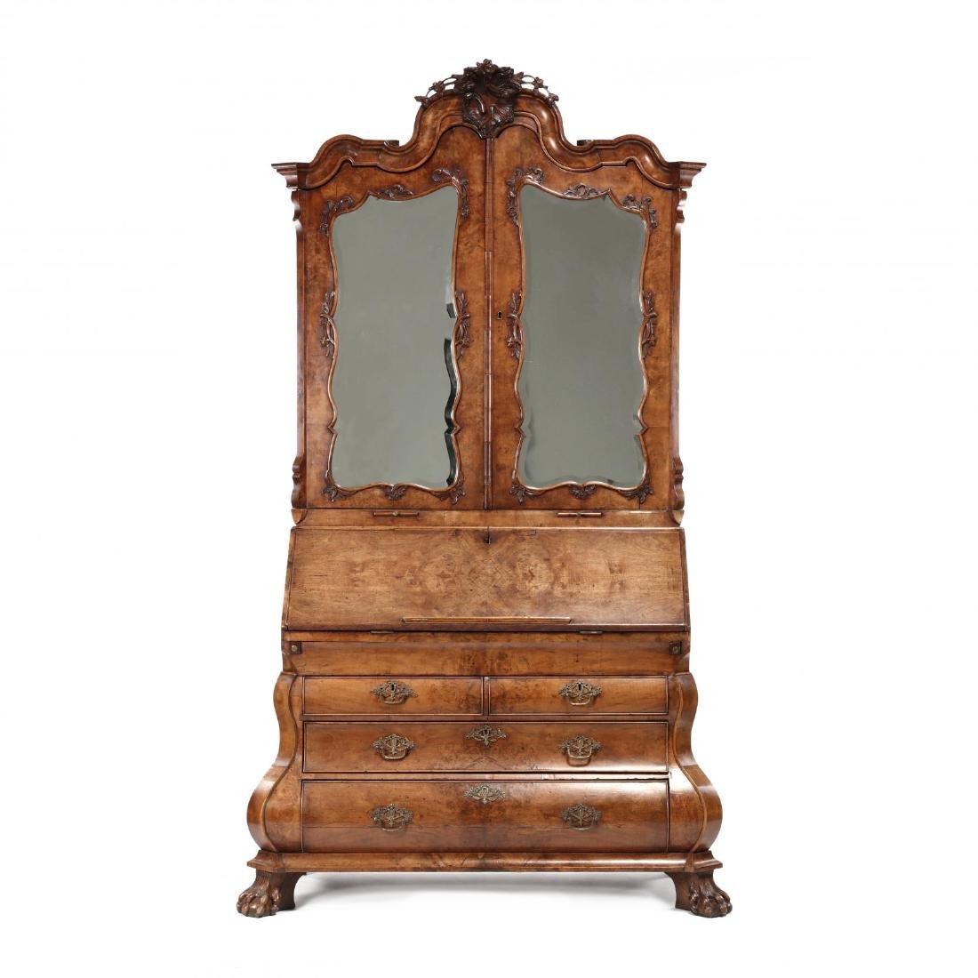French or Dutch Baroque Bombé Secretaire Bookcase