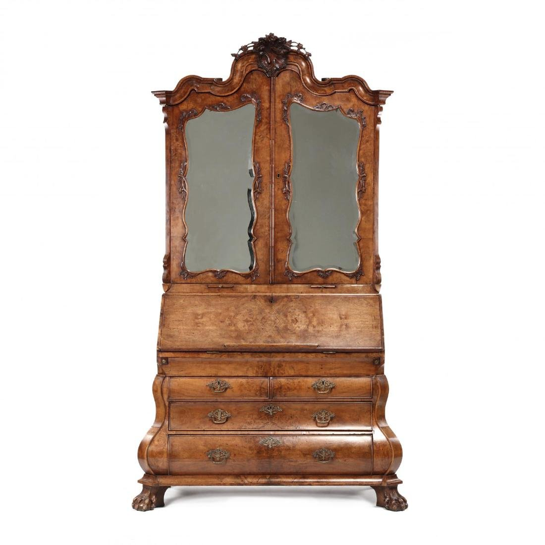 French or Dutch Baroque Bombé Secretaire Bookcase