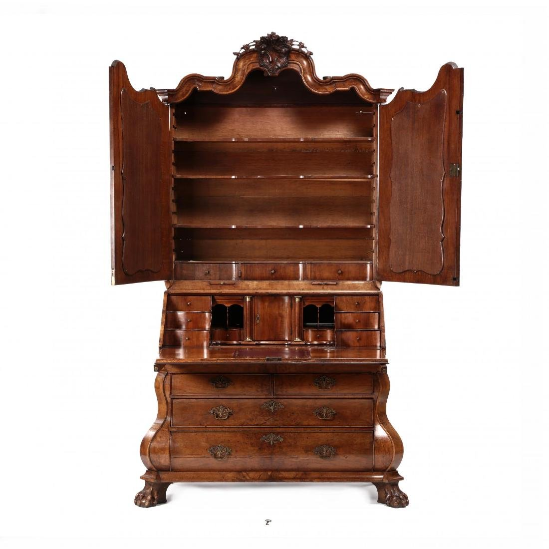 French or Dutch Baroque Bombé Secretaire Bookcase - 2