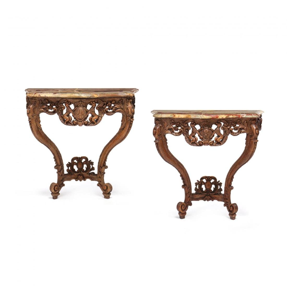 Pair of French Rococo Marble Top Console Tables