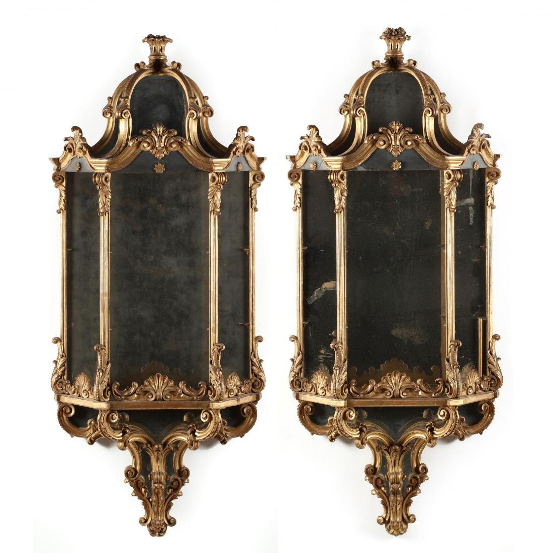 Pair of Classical Carved and Gilt Mirrored Wall Mount
