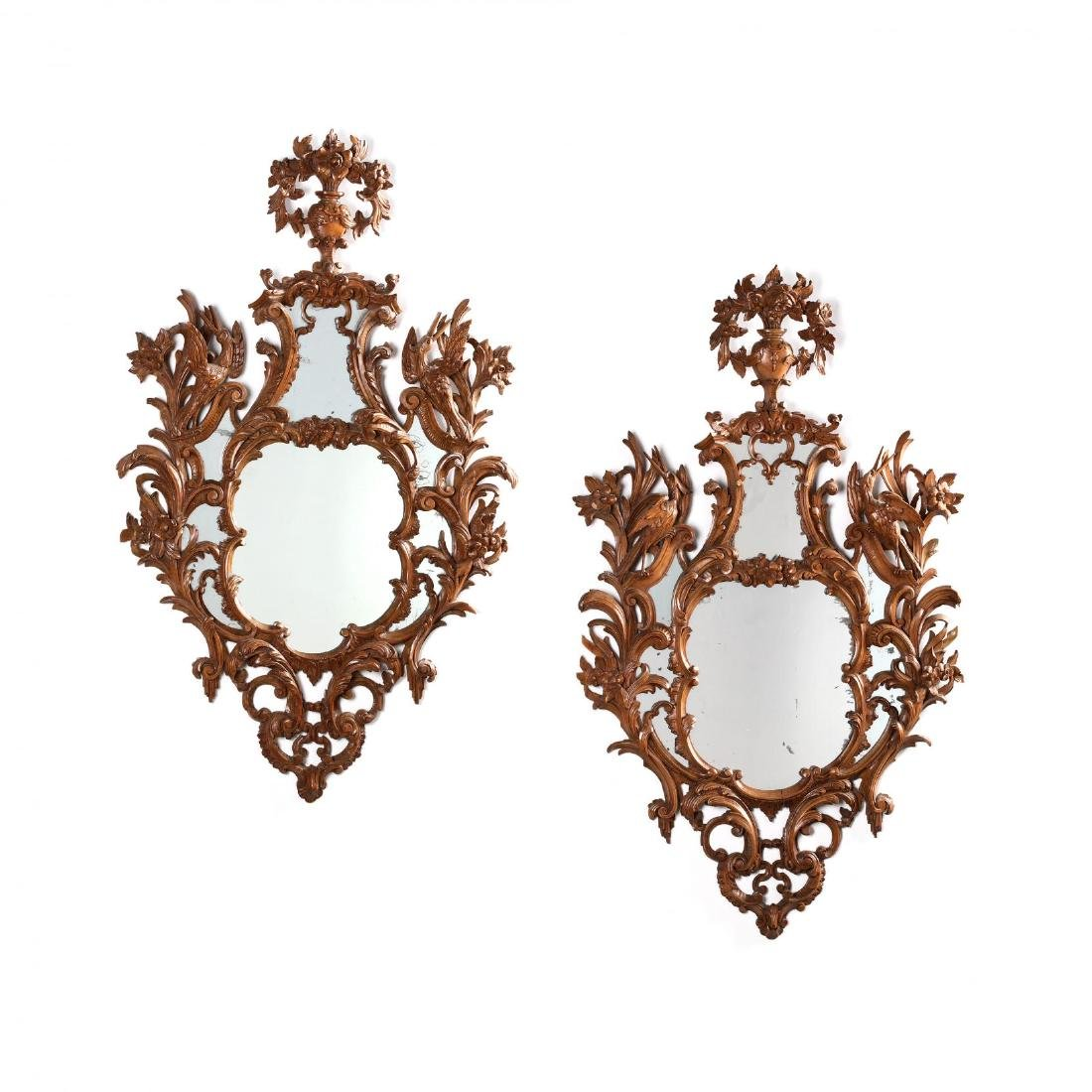Pair of Italian Rococo Style Carved Wood Mirrors