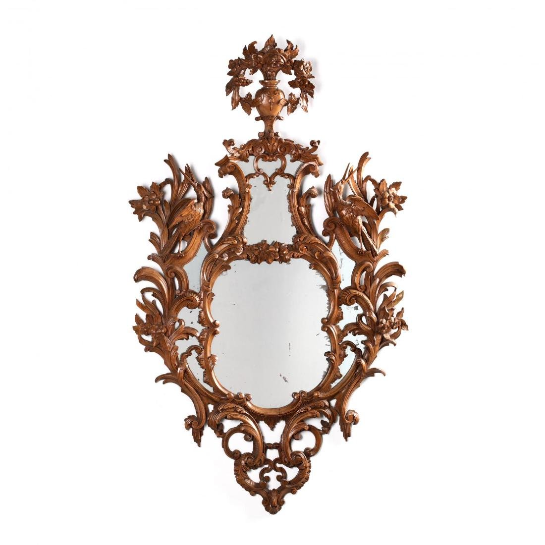 Pair of Italian Rococo Style Carved Wood Mirrors - 2