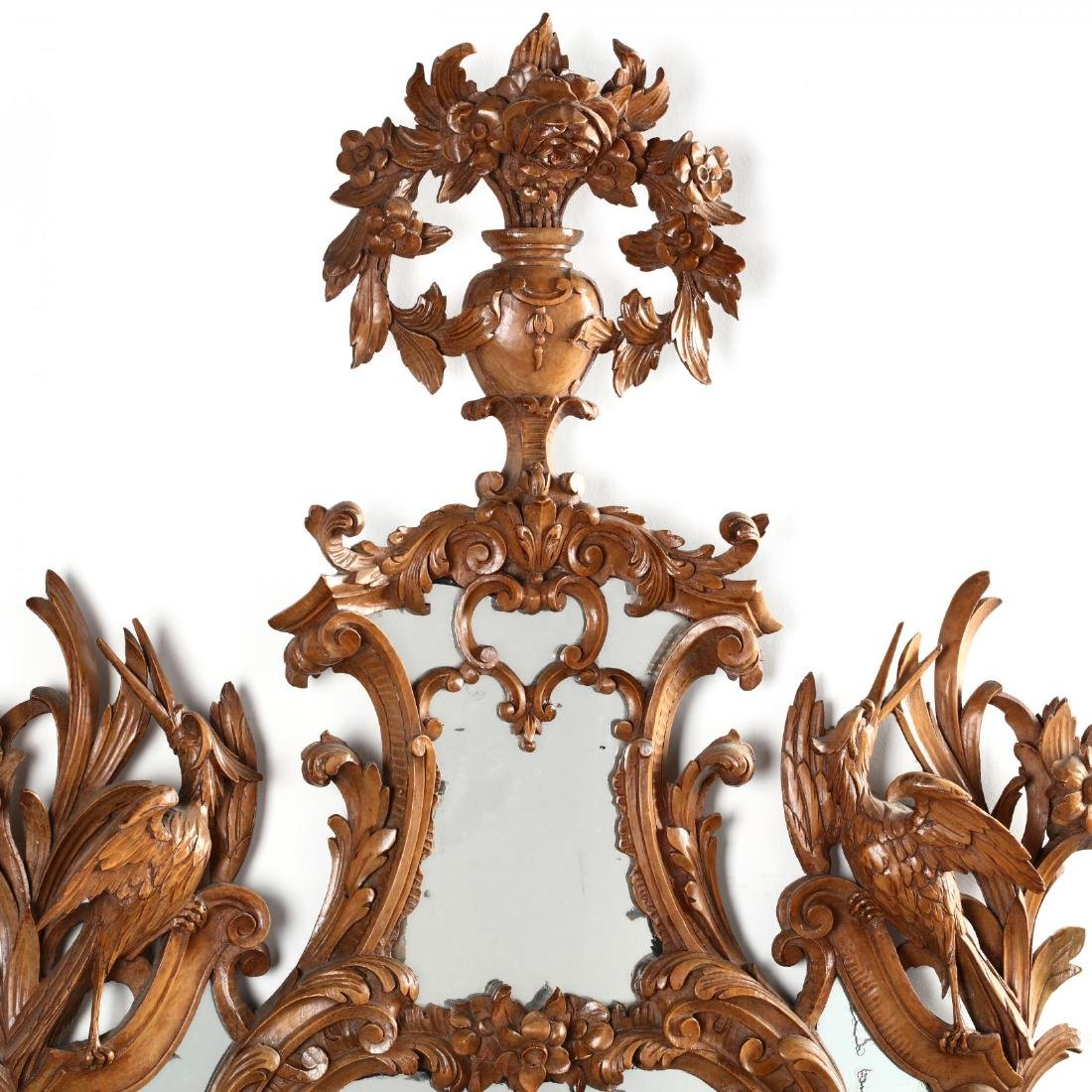 Pair of Italian Rococo Style Carved Wood Mirrors - 3