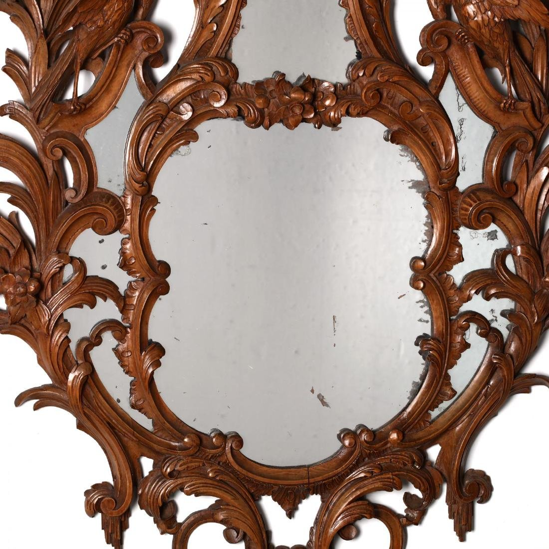 Pair of Italian Rococo Style Carved Wood Mirrors - 4