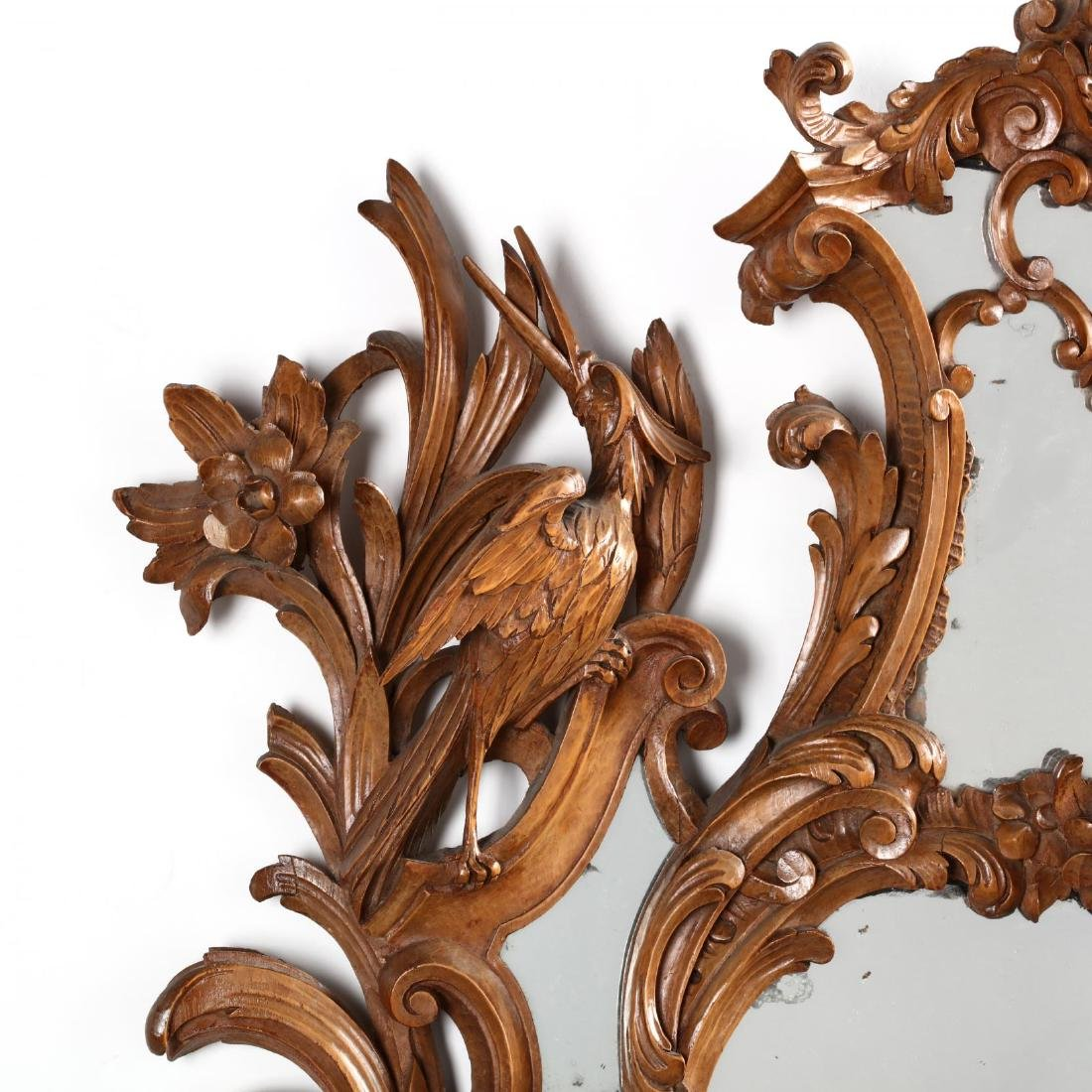 Pair of Italian Rococo Style Carved Wood Mirrors - 5