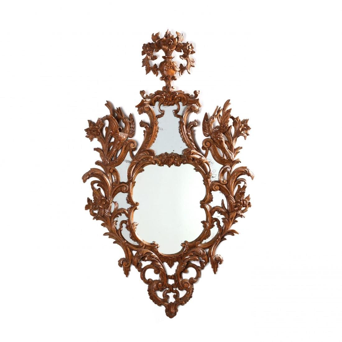 Pair of Italian Rococo Style Carved Wood Mirrors - 6