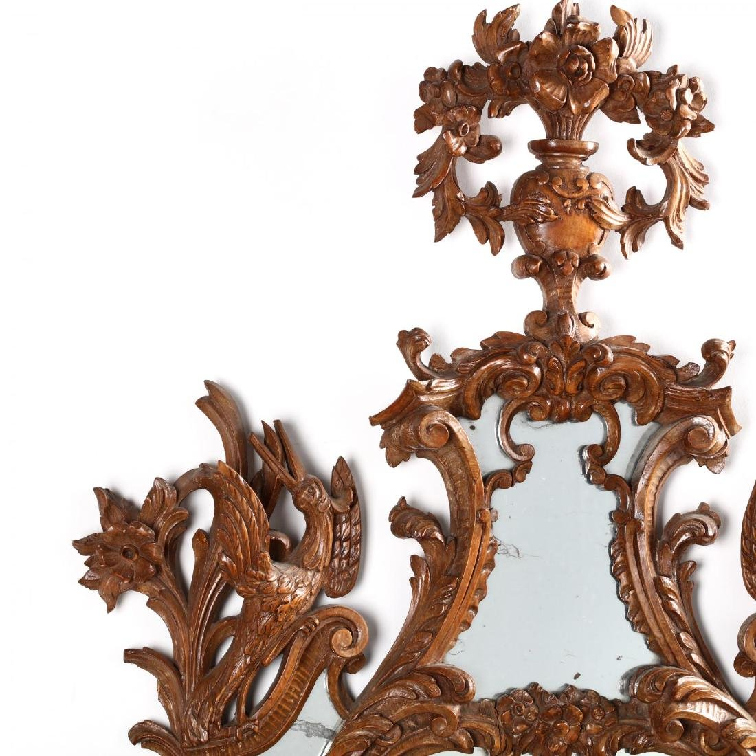 Pair of Italian Rococo Style Carved Wood Mirrors - 7