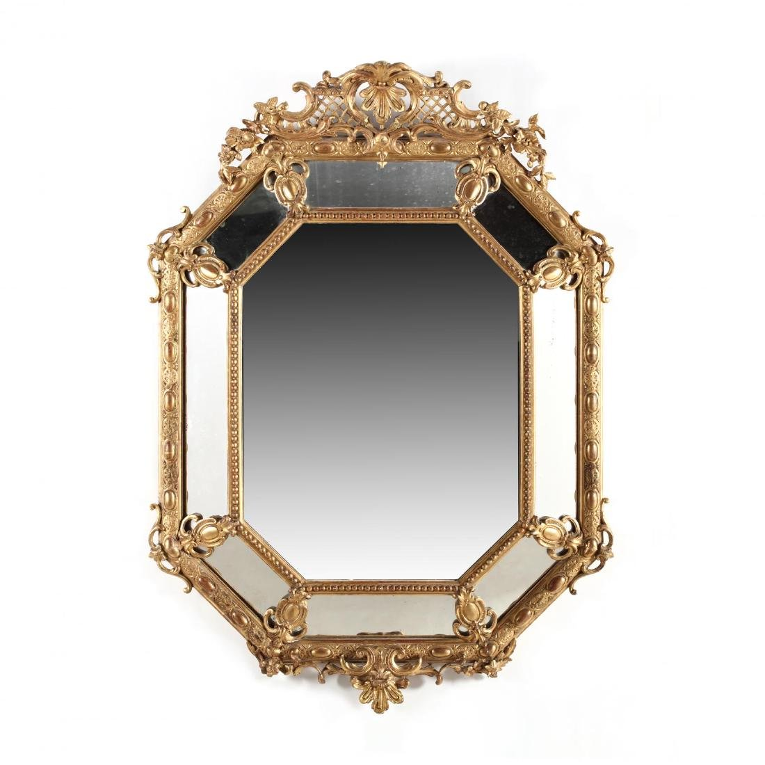 French Rococo Style Paneled Mirror