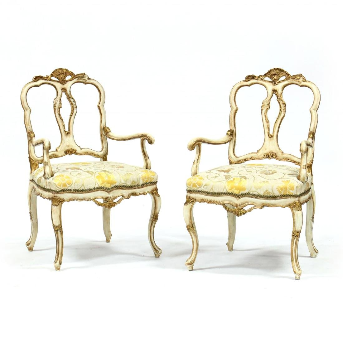 Pair of Louis XV Style Painted Fauteuil