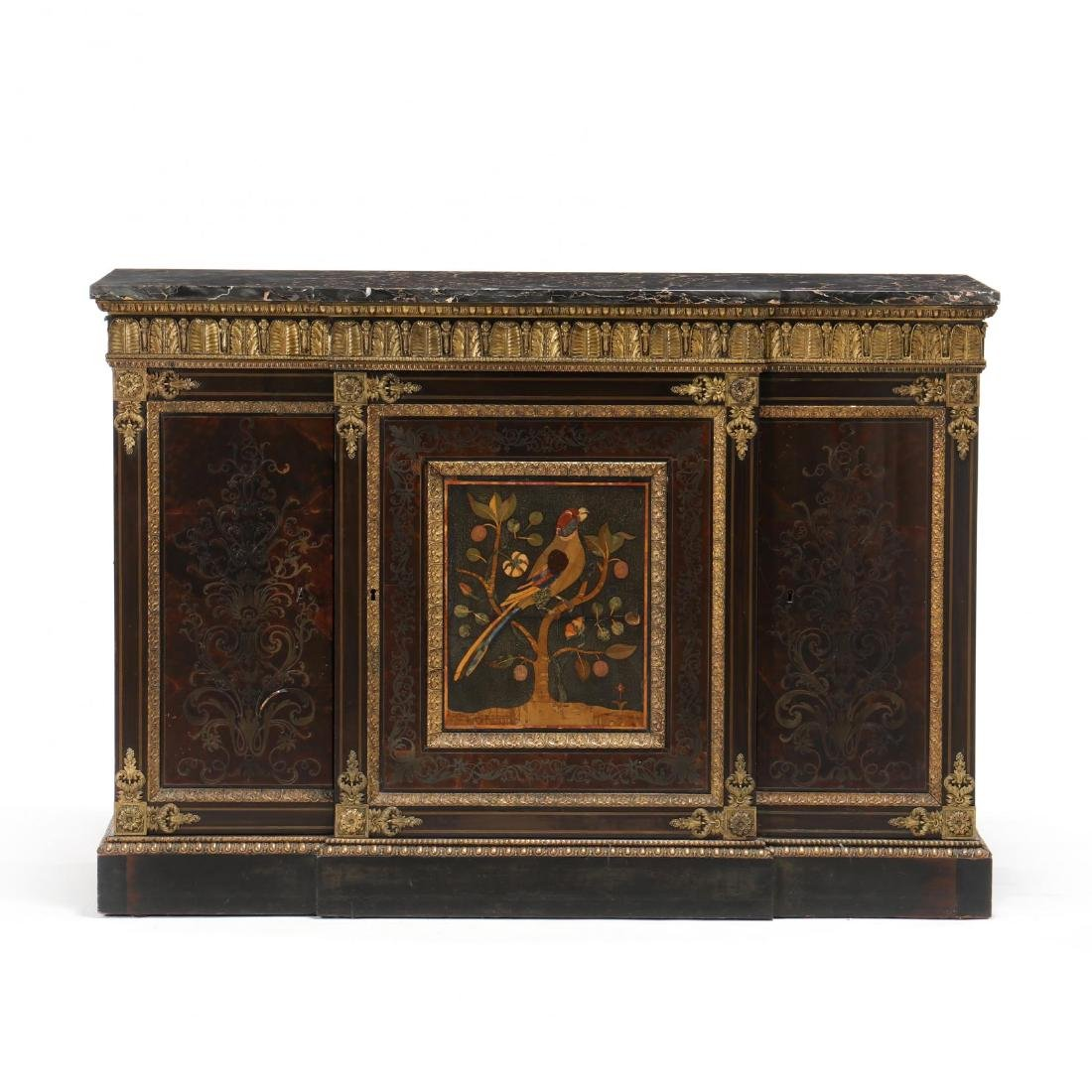 A Restauration Ormolu-Mounted Marble Top, Inlaid