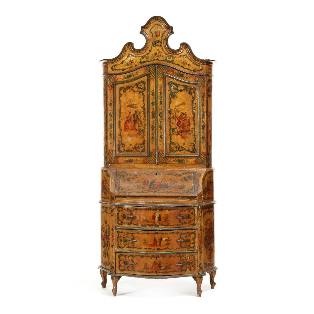 Venetian Paint Decorated Secretaire Bookcase