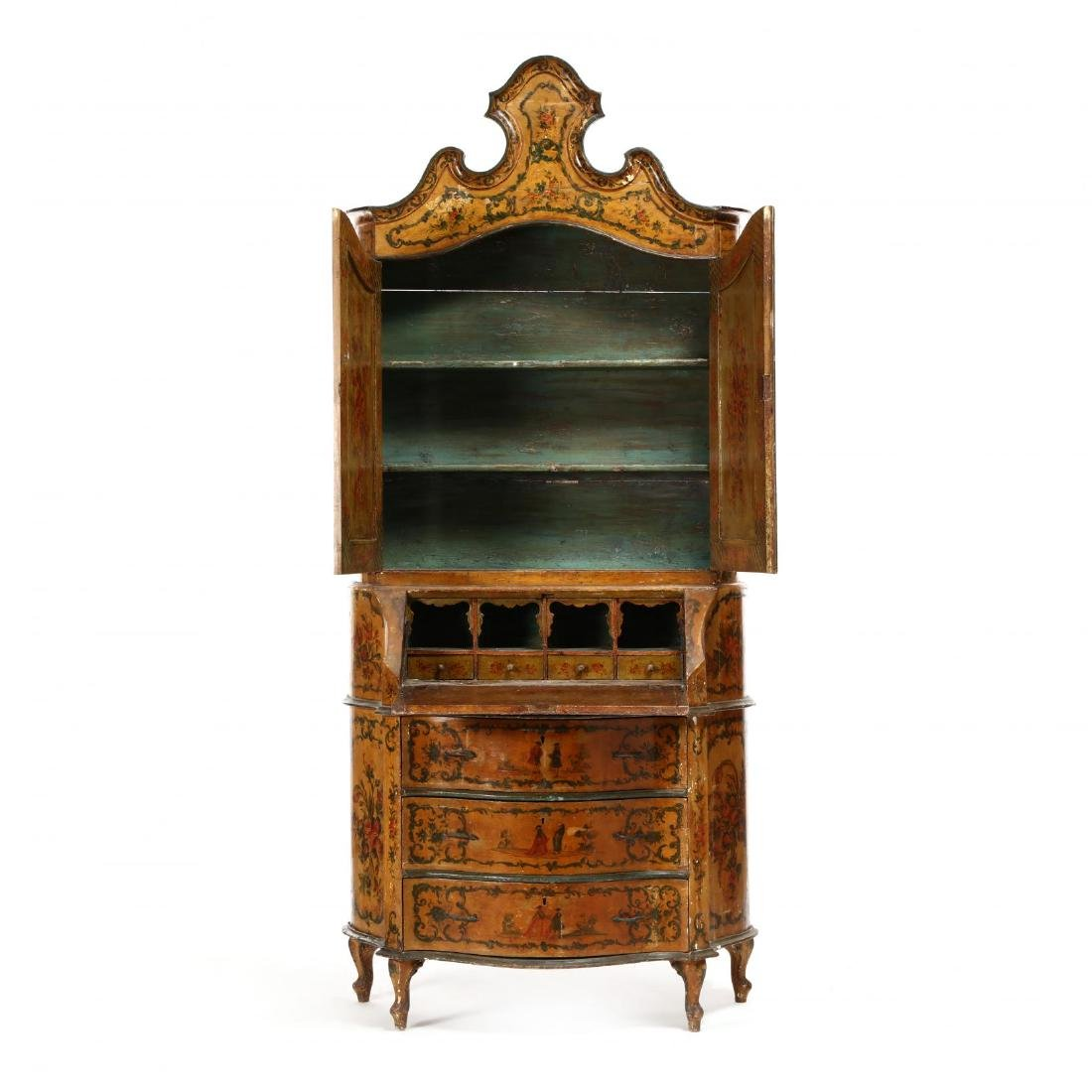 Venetian Paint Decorated Secretaire Bookcase - 2
