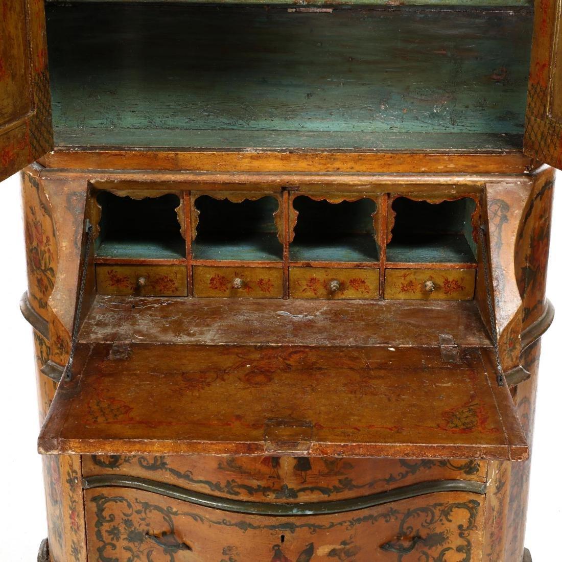 Venetian Paint Decorated Secretaire Bookcase - 3