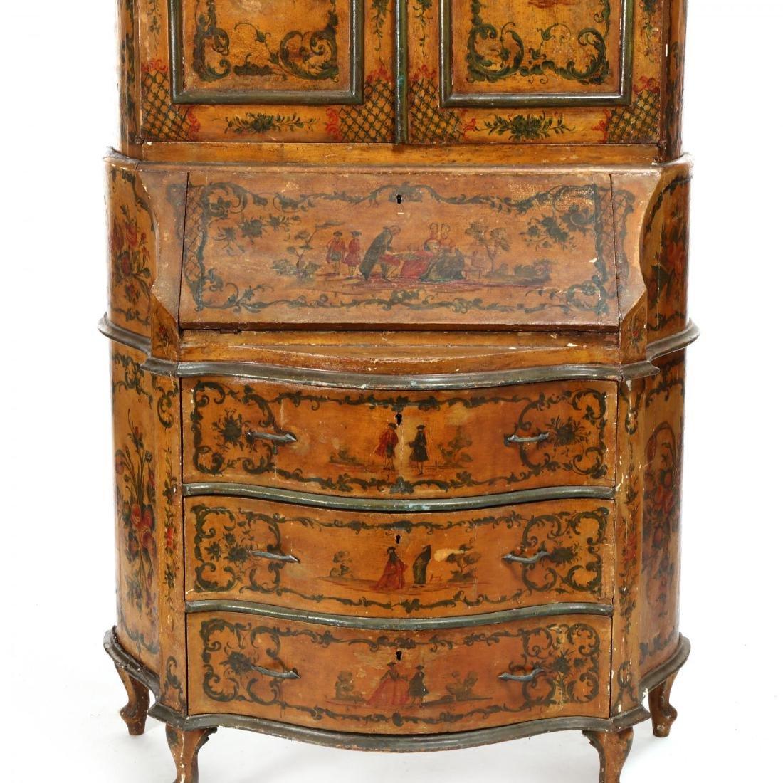 Venetian Paint Decorated Secretaire Bookcase - 4
