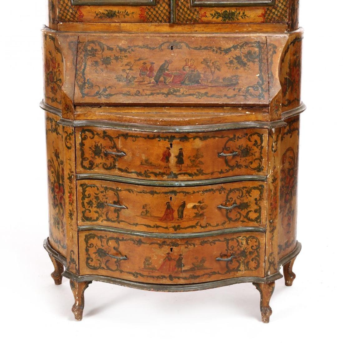 Venetian Paint Decorated Secretaire Bookcase - 5