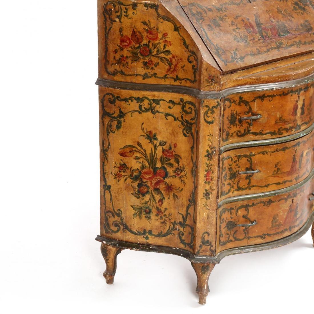 Venetian Paint Decorated Secretaire Bookcase - 6