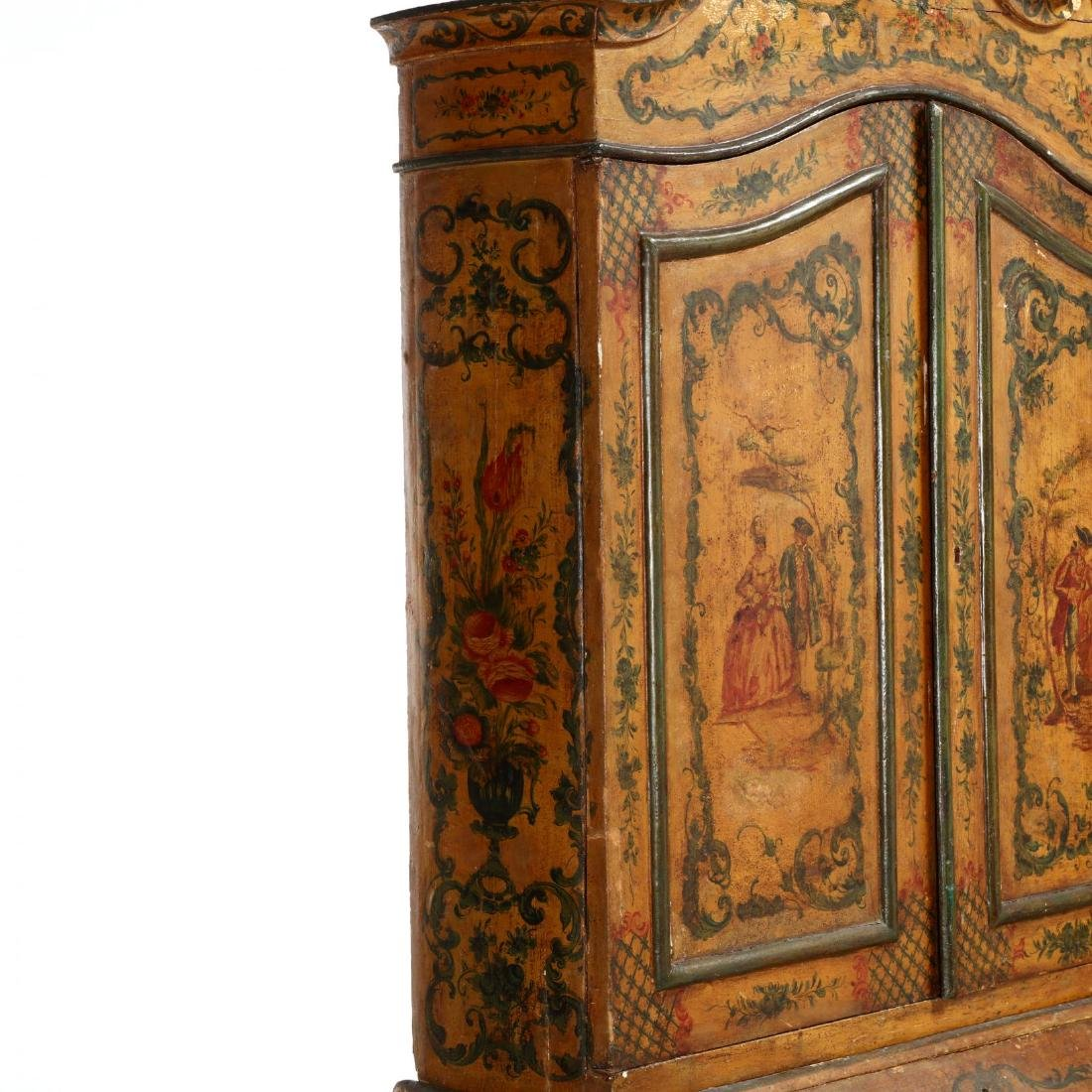 Venetian Paint Decorated Secretaire Bookcase - 7