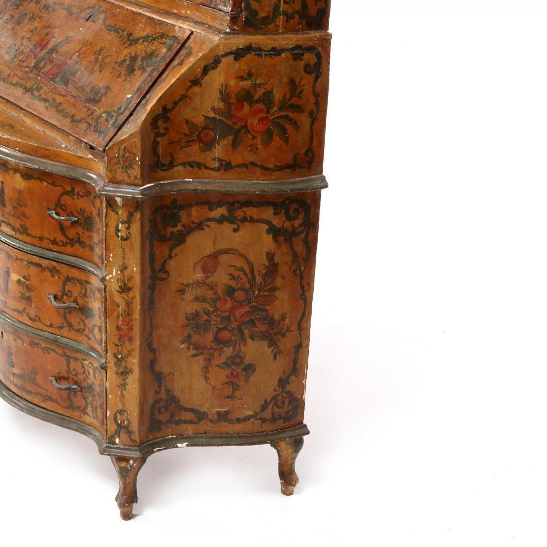 Venetian Paint Decorated Secretaire Bookcase - 8