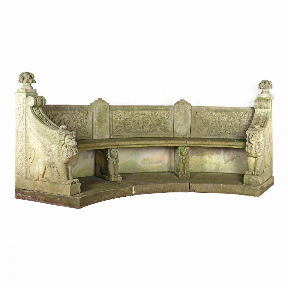 Neoclassical Style Cast Stone Garden Bench
