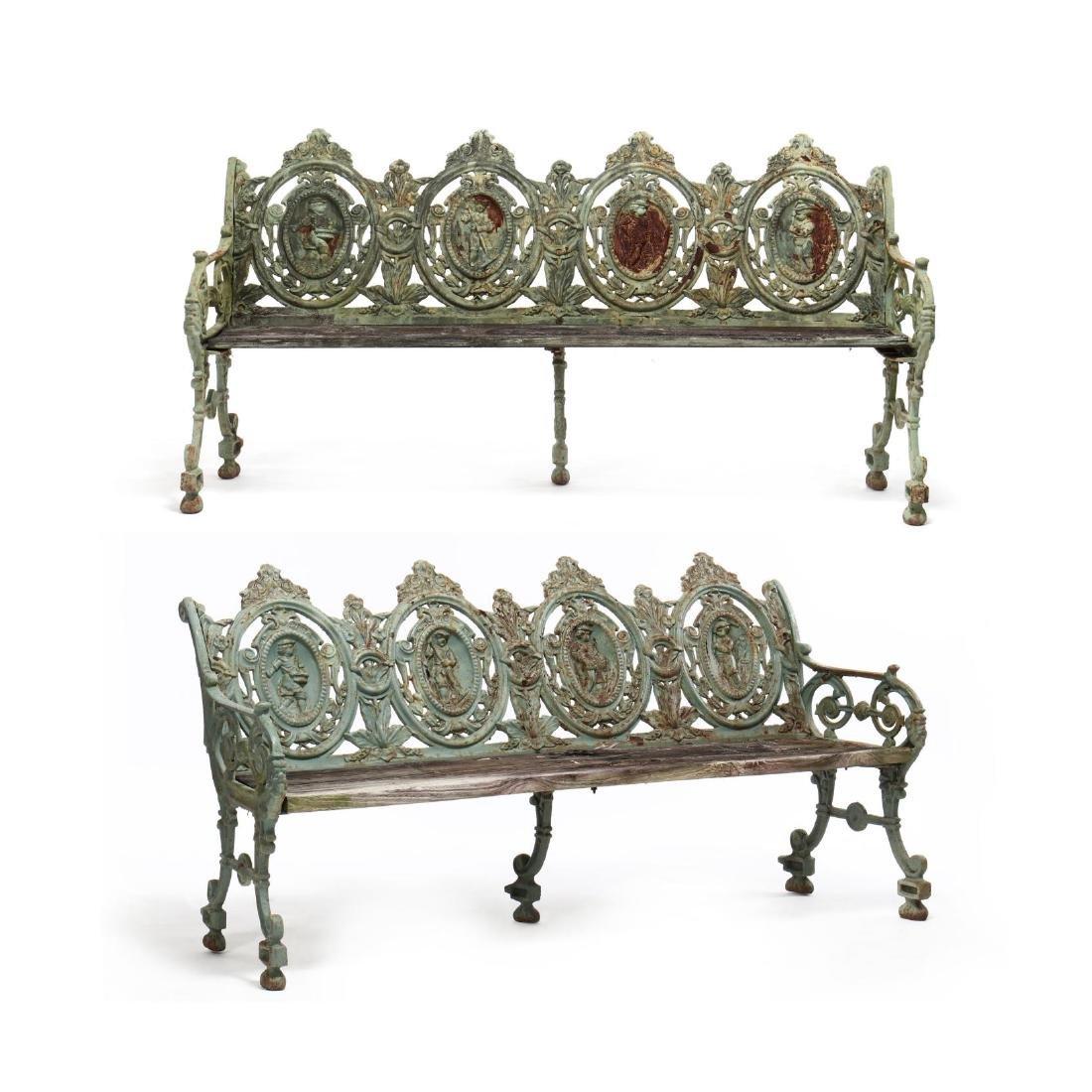 Pair of Renaissance Revival Cast Iron Garden Benches