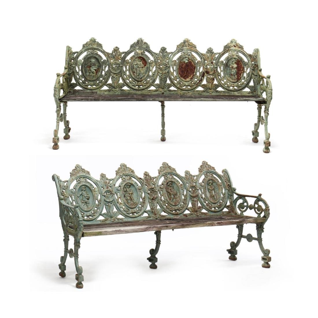 Pair of Renaissance Revival Cast Iron Garden Benches