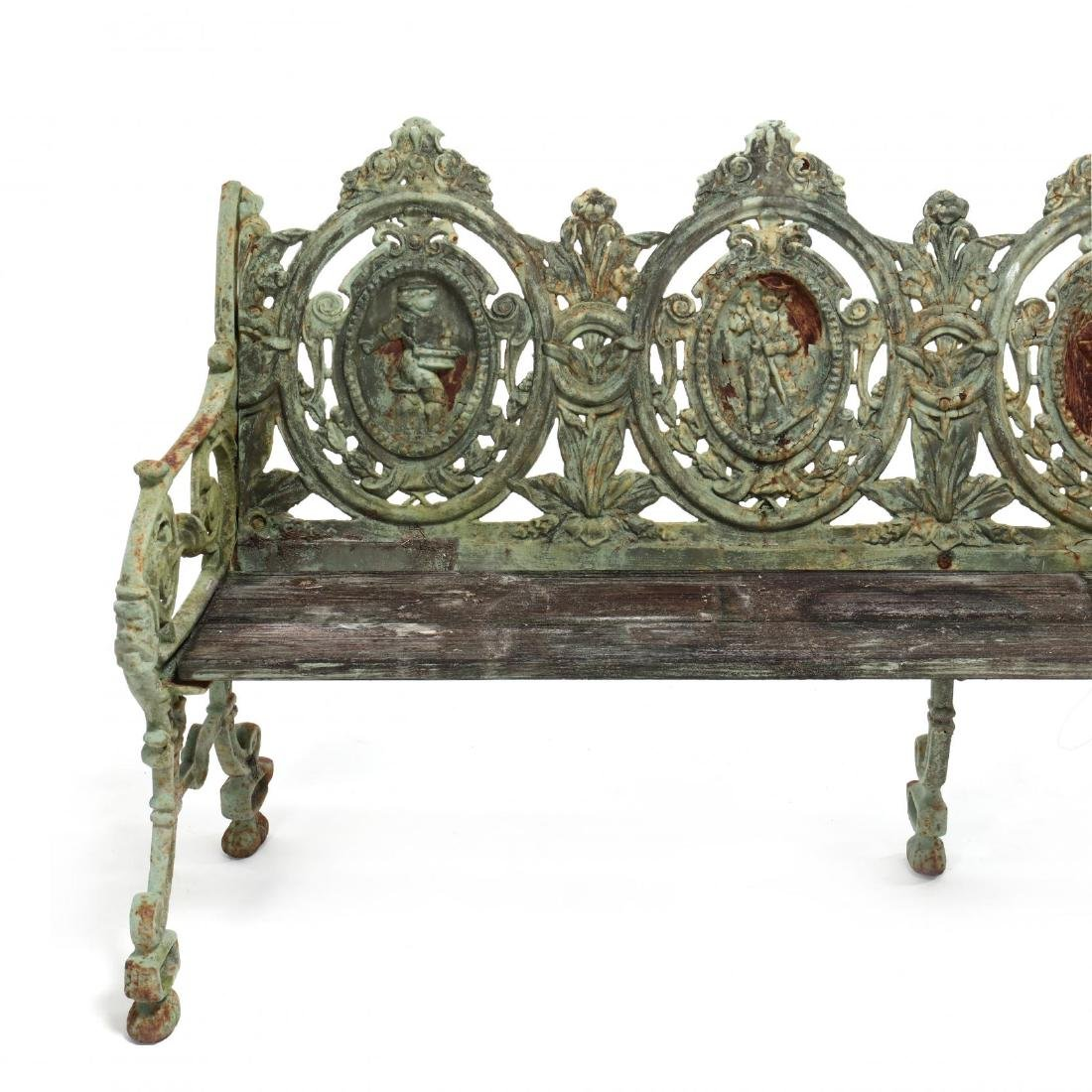 Pair of Renaissance Revival Cast Iron Garden Benches - 5