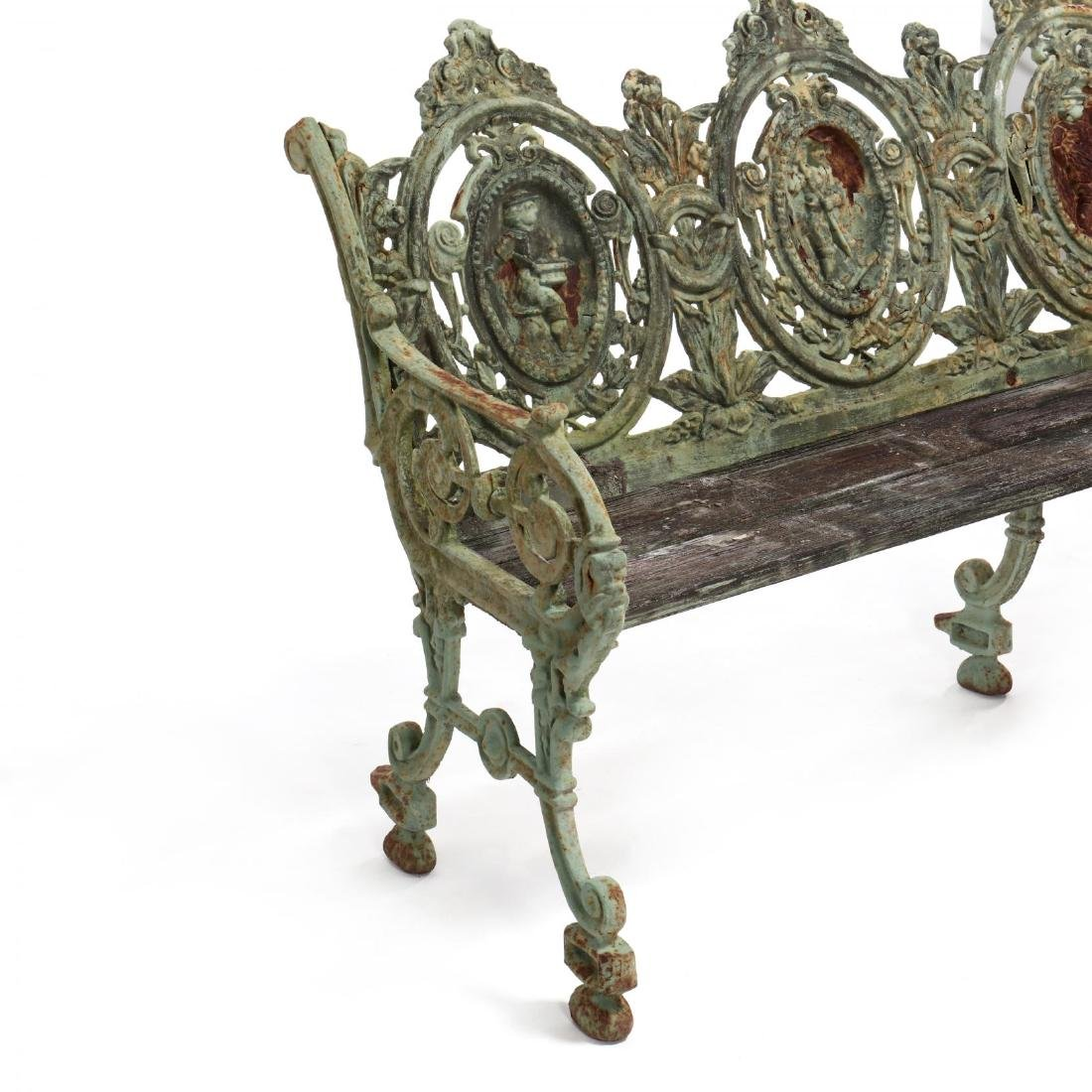 Pair of Renaissance Revival Cast Iron Garden Benches - 6