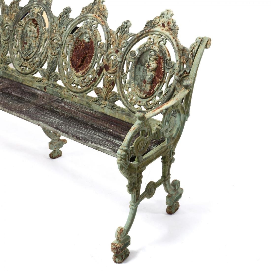 Pair of Renaissance Revival Cast Iron Garden Benches - 7