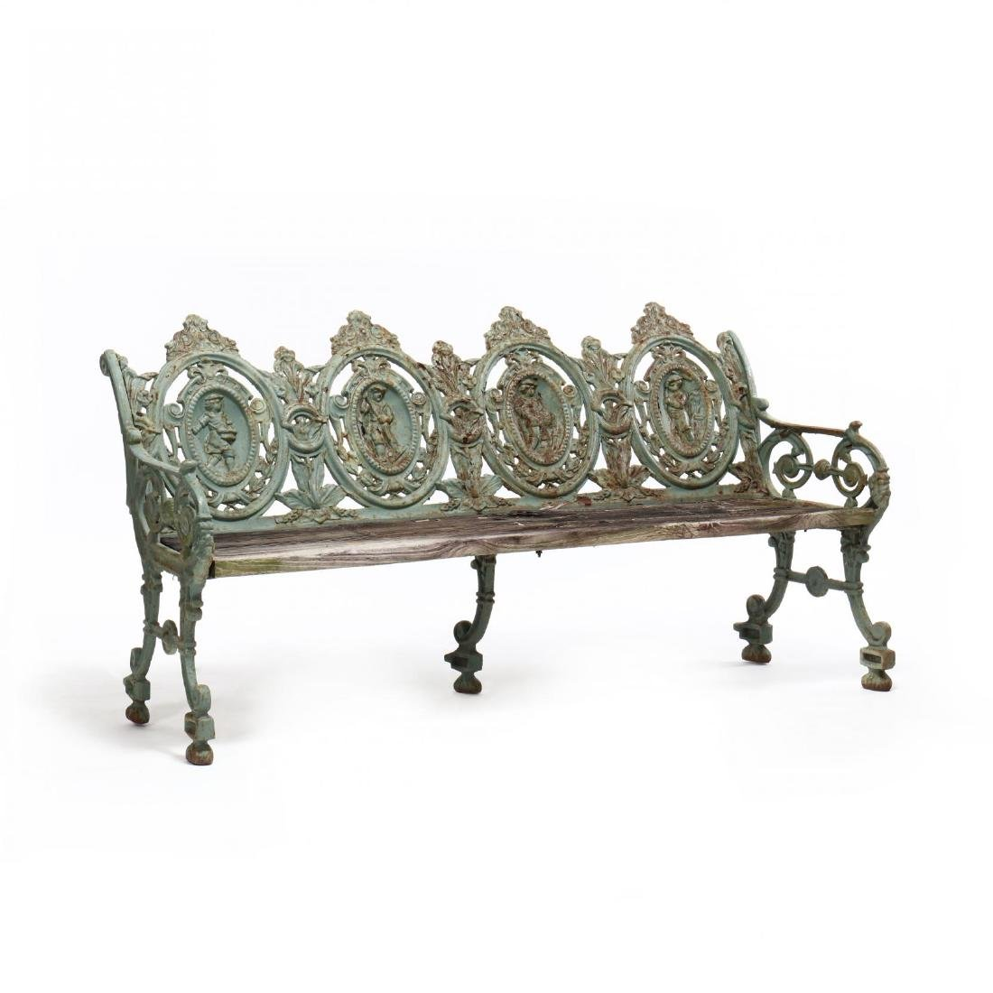 Pair of Renaissance Revival Cast Iron Garden Benches - 9
