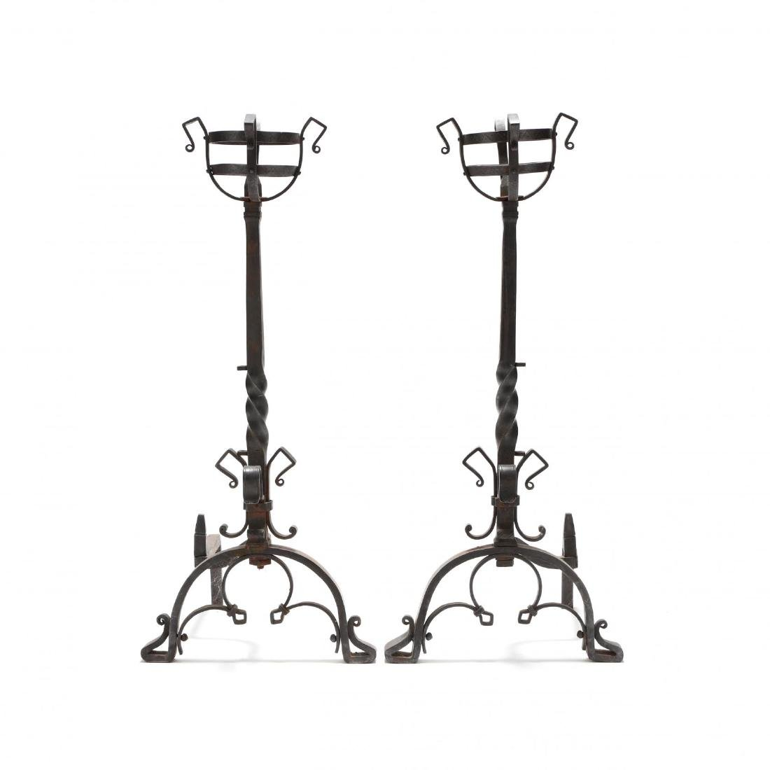 Pair of Monumental Continental Wrought Iron Andirons