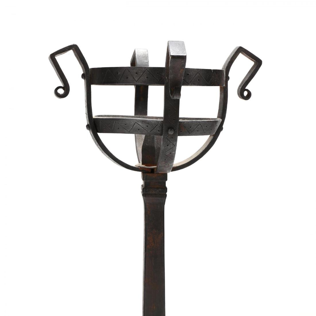 Pair of Monumental Continental Wrought Iron Andirons - 3