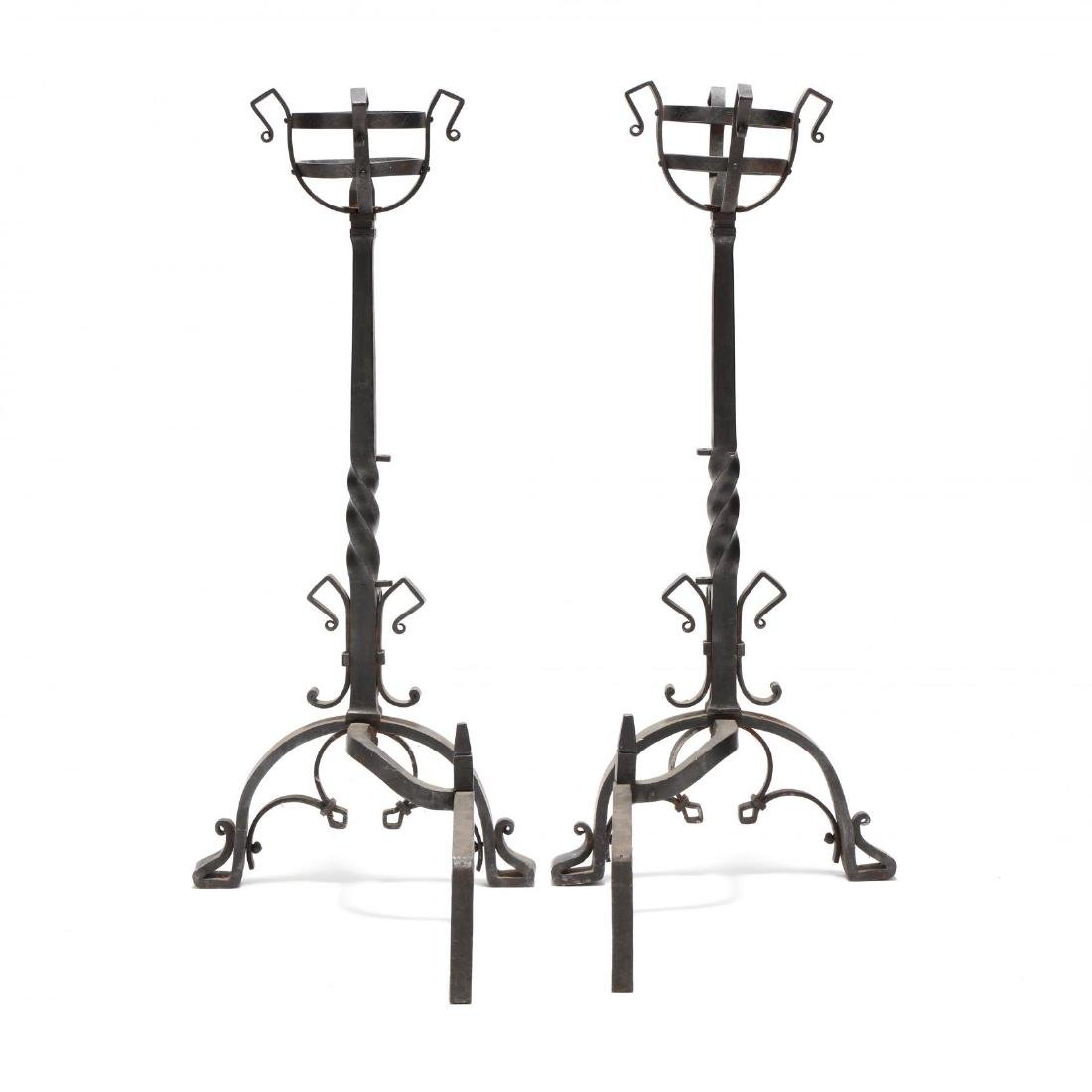 Pair of Monumental Continental Wrought Iron Andirons - 4