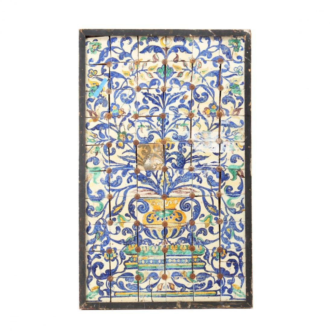 Spanish Polychromed Tile Architectural Panel