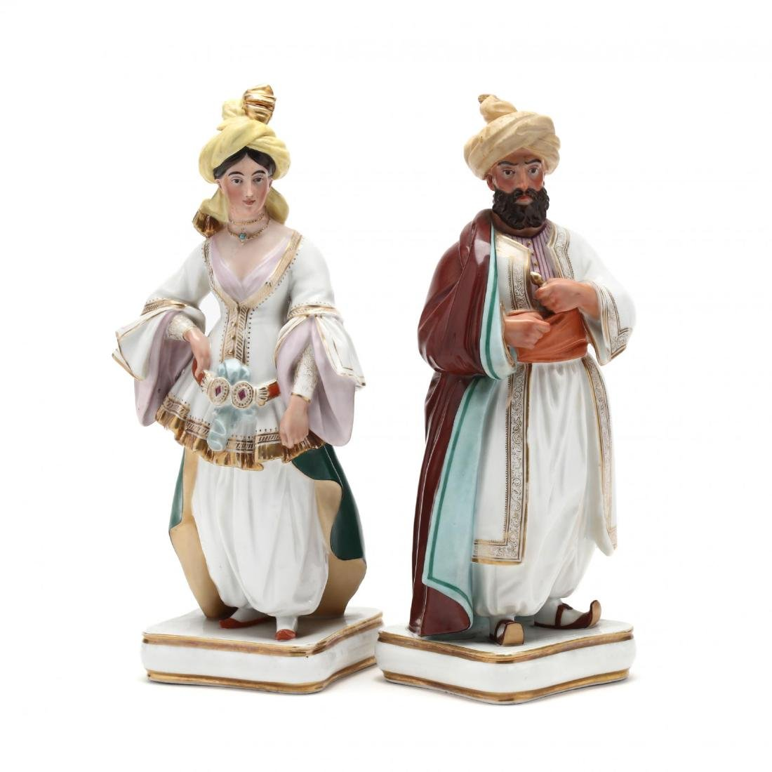 A Pair of Paris Porcelain Scent Bottles in the Form of