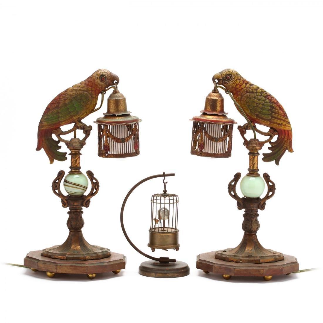 Pair of Art Deco Parrot Boudoir Lamps and an Automaton