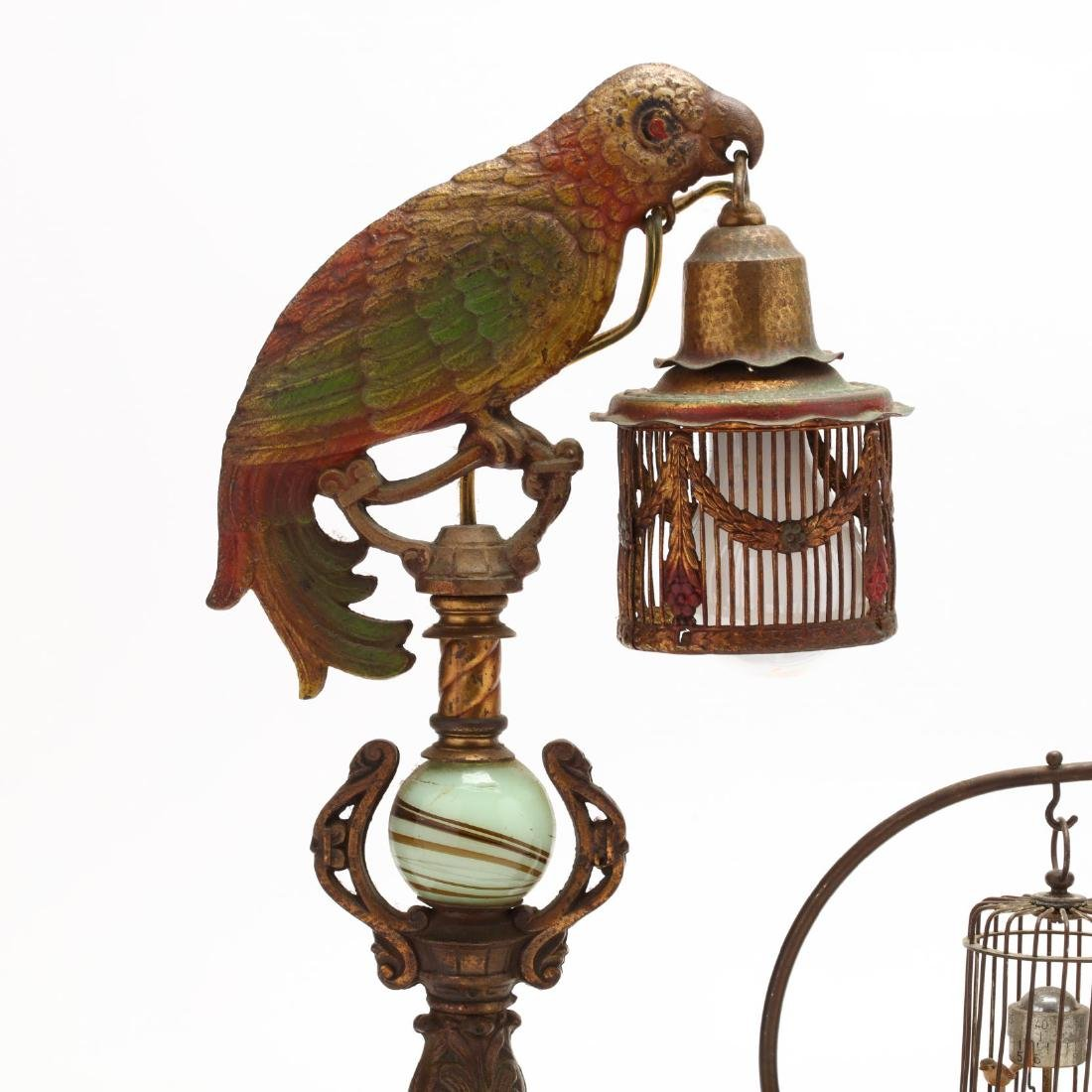 Pair of Art Deco Parrot Boudoir Lamps and an Automaton - 3
