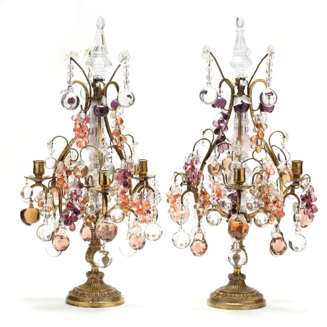 Pair of Antique Italian Drop Prism Candelabra
